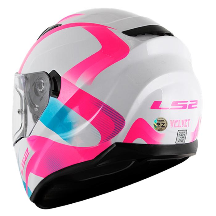 Capacete LS2 Stream (FF320) Velvet (C/ viseira solar) Branco/Rosa Feminino  - Nova Suzuki Motos e Acessórios
