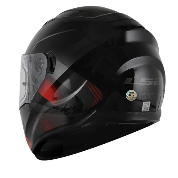 Capacete LS2 Strean (FF320) Velvet (C/ Viseira Solar) Preto/Vermelho  - Nova Suzuki Motos e Acessórios
