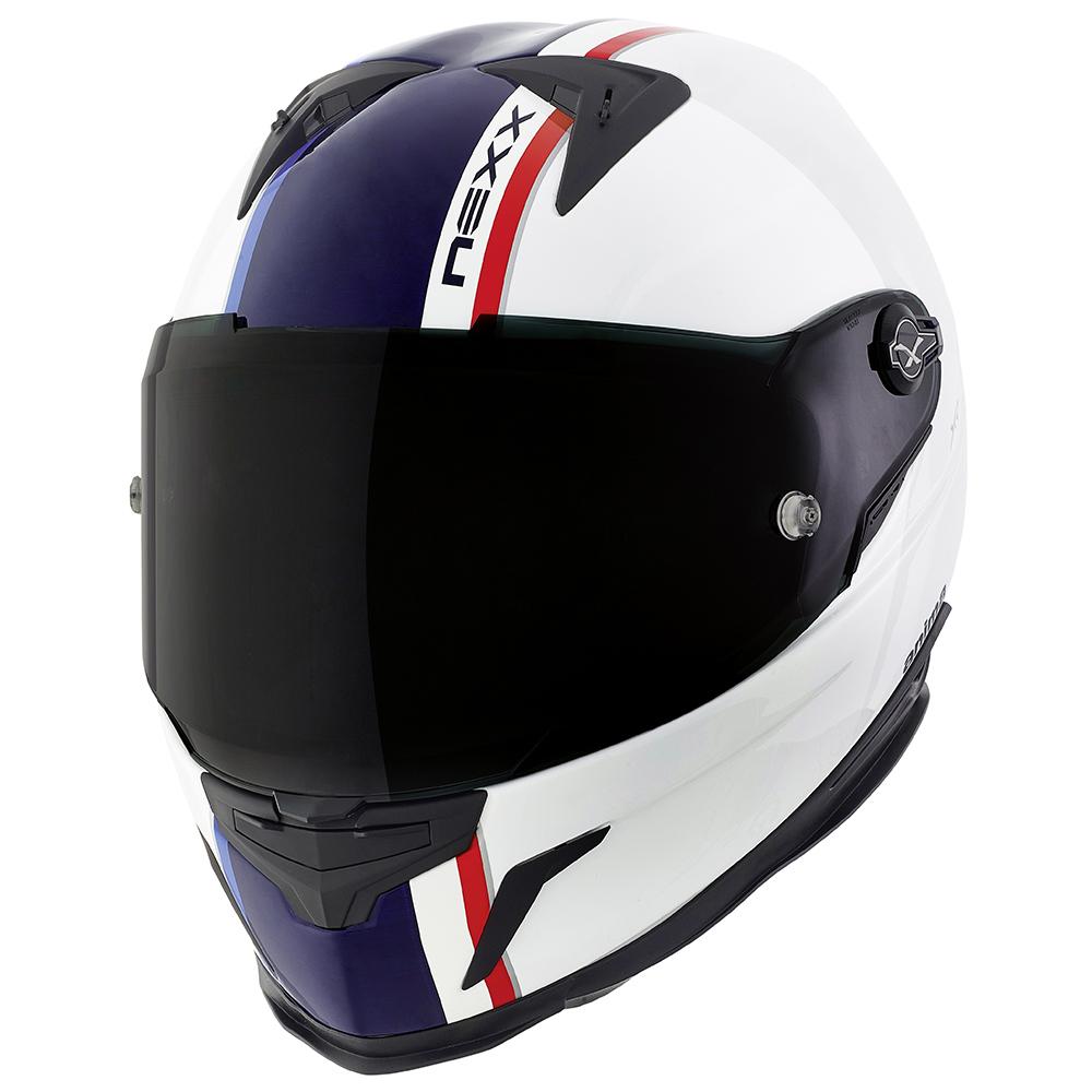 Capacete Nexx XR2 Anima Branco/Azul - Tri-Composto - Ganhe Viseira Fumê  - Nova Suzuki Motos e Acessórios