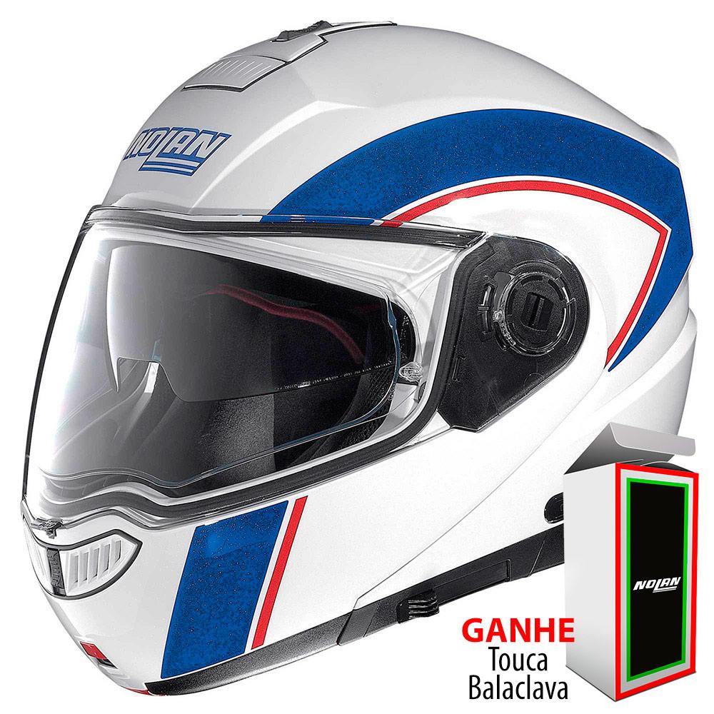 Capacete Nolan N104 Evo Scovery N-Com BLUE/WHITE Escamoteável - Ganhe Balaclava Exclusiva!  - Nova Suzuki Motos e Acessórios