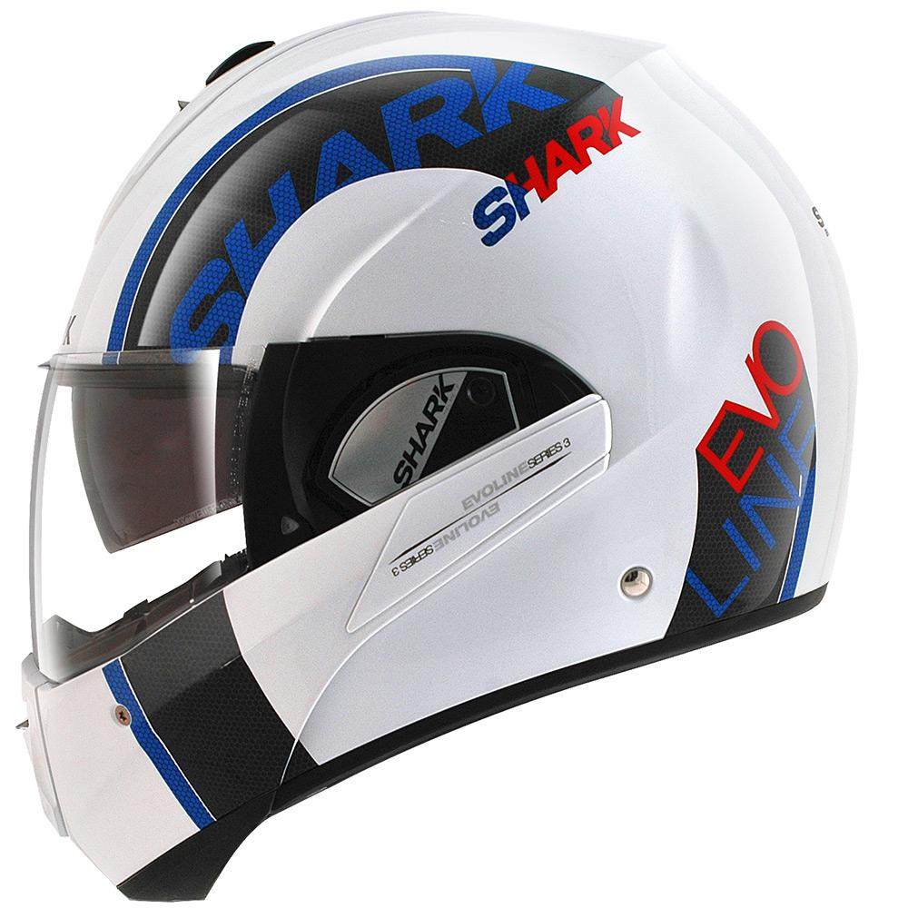 Capacete Shark Evoline Serie 3 Drop WBR Azul Escamoteável  - Nova Suzuki Motos e Acessórios