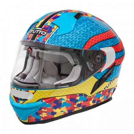 Capacete Tutto Racing Multicolor c/Óculos Interno - GANHE Viseira Espelhada!  - Nova Suzuki Motos e Acessórios