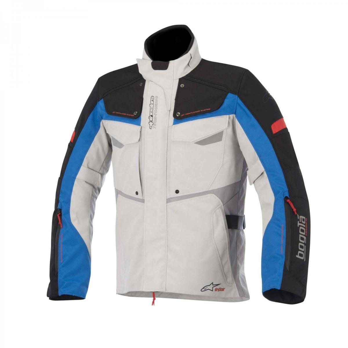 Jaqueta Alpinestars Bogotá Drystar® Cinza/Azul Parka  - Nova Suzuki Motos e Acessórios