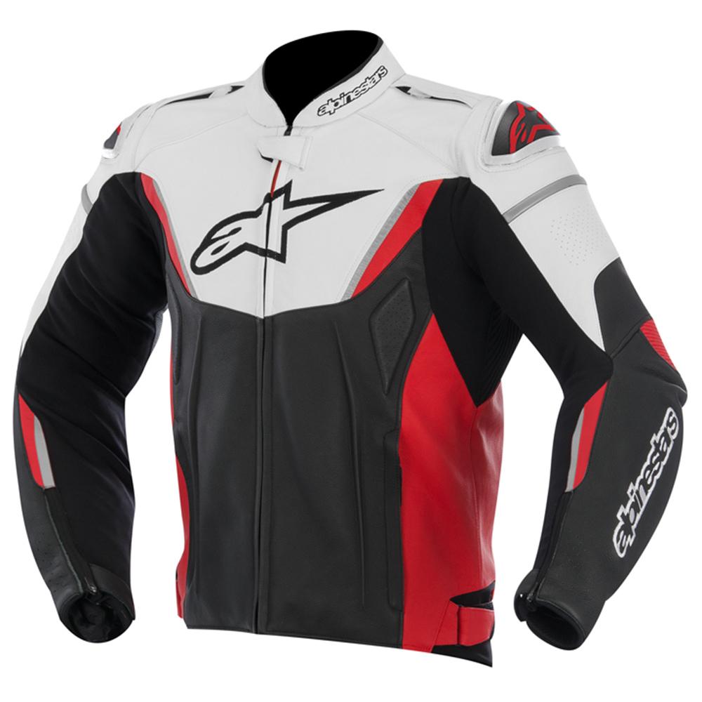 Jaqueta Alpinestars Couro GP-R Preta c/ Vermelho  - Nova Suzuki Motos e Acessórios