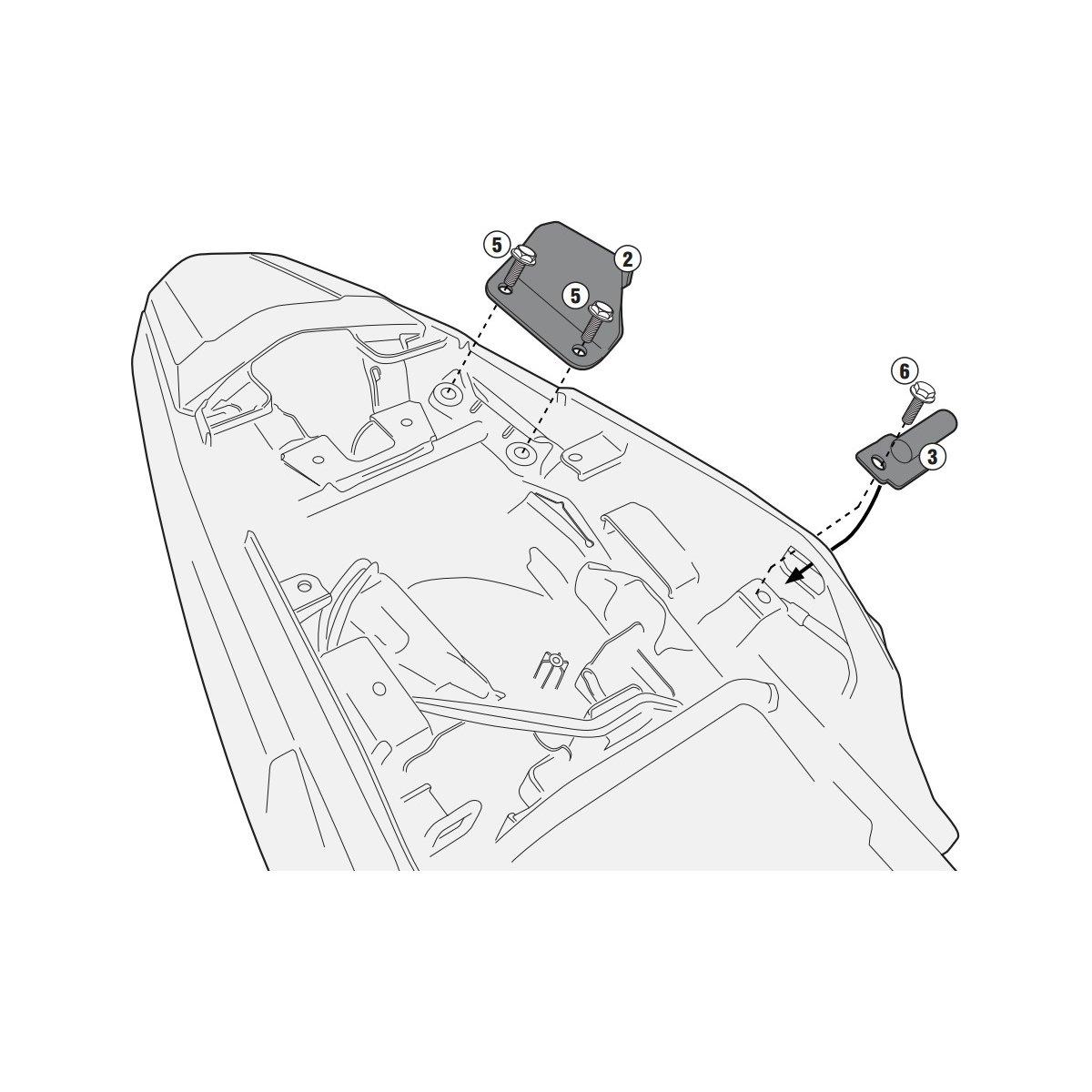 Kit de fixação Givi 1121KIT para PL1121 ou PL1121CAM sem o monorack  - Nova Suzuki Motos e Acessórios