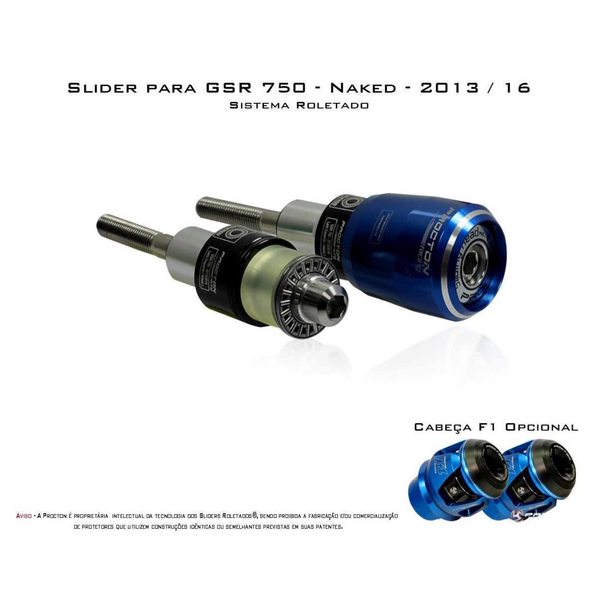 Slider Dianteiro Procton  com Amortecimento GSR750 - NAKED - 13/16 (Roletado)  - Nova Suzuki Motos e Acessórios
