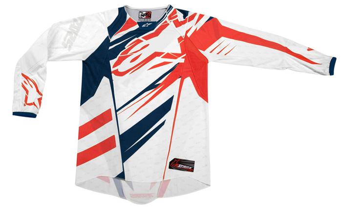 Camisa Alpinestars Techstar - Branco e Vermelho  - Super Bike - Loja Oficial Alpinestars