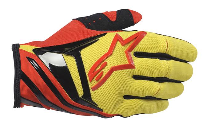 Luva Alpinestars Techstar - Vermelha e Amarela  - Super Bike - Loja Oficial Alpinestars