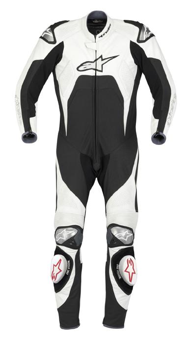 Macacão Alpinestars Tech1-R - 1 peça - Branco c/ Preto  - Super Bike - Loja Oficial Alpinestars