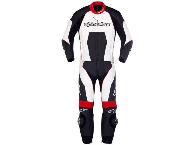 Macacão Alpinestars Carver 2 pçs - Preto/Branco/Vermelho  - Super Bike - Loja Oficial Alpinestars