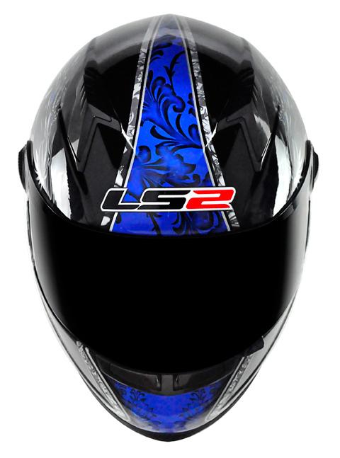 Capacete LS2 FF358 Dragon - Preto com Azul - GANHE BALACLAVA  - Super Bike - Loja Oficial Alpinestars