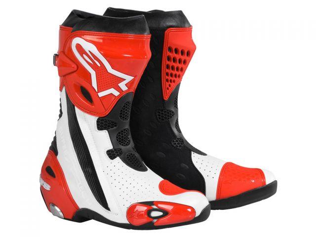 Bota Alpinestars Supertech R (Branco Vermelho)  - Super Bike - Loja Oficial Alpinestars