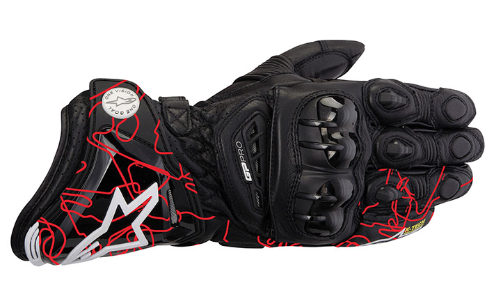 Luva Alpinestars GP Pro Couro Black Red Tracks (Atem)  - Super Bike - Loja Oficial Alpinestars