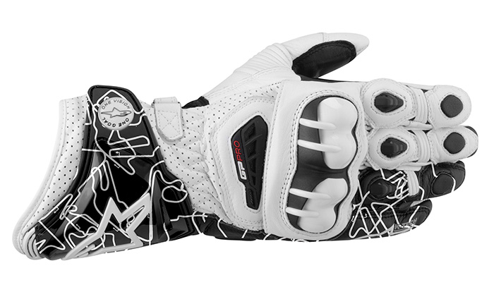 Luva Alpinestars GP Pro Couro White Black Track (Atem)  - Super Bike - Loja Oficial Alpinestars