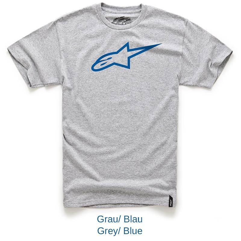 Camiseta Alpinestars Ageless Classic Tee (Cinza/ Azul)  - Super Bike - Loja Oficial Alpinestars