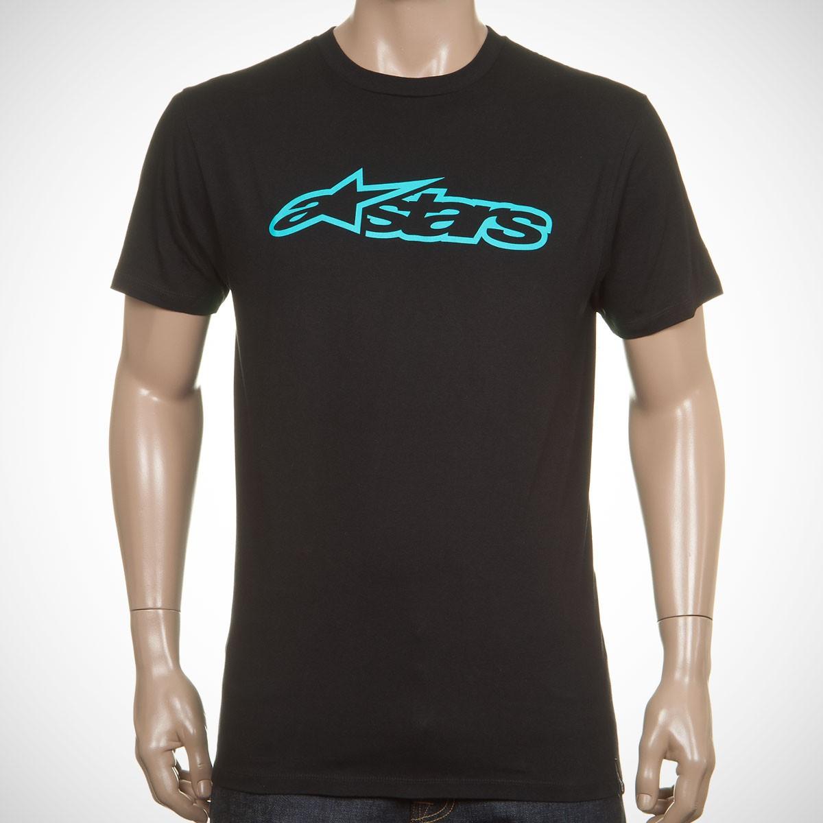 Camiseta Alpinestars Blaze Classic Tee (Black Aqua)  - Super Bike - Loja Oficial Alpinestars