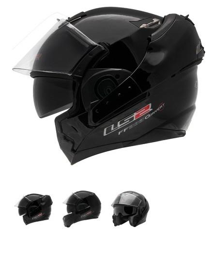 Capacete LS2 FF393 Mono Gloss Black Escamoteável  - Super Bike - Loja Oficial Alpinestars