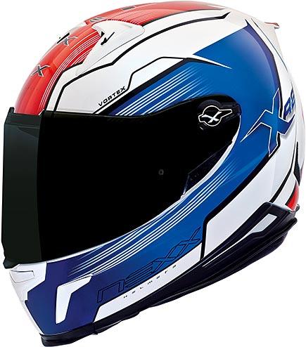 Capacete Nexx XR2 Vortex Branco, Azul e Vermelho - Ganhe Viseira fumê + Pinlock  - Super Bike - Loja Oficial Alpinestars