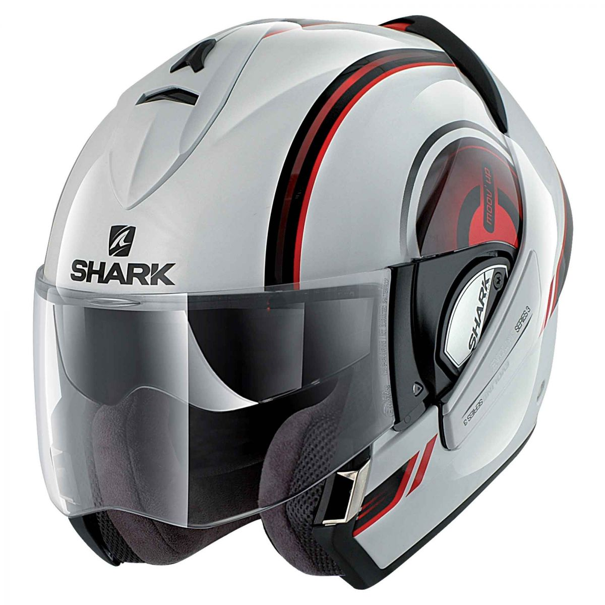 Capacete Shark Evoline Serie 3 Moov Up WKR Escamoteável - Branco c/ Vermelho  - Super Bike - Loja Oficial Alpinestars