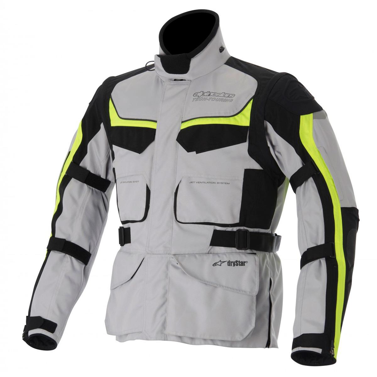 Jaqueta Alpinestars Calama Drystar WP (Cinza, preta e Amarelo Neon/ MotoTurismo/ Impermeável e Respirável)  - Super Bike - Loja Oficial Alpinestars