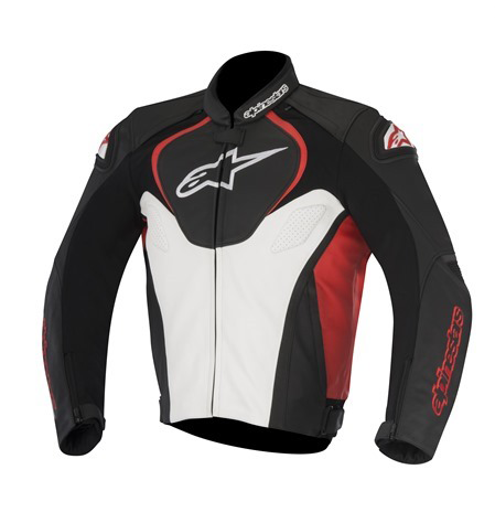 Jaqueta Apinestars Jaws - Preto/Branco/Vermelho - Couro   - Super Bike - Loja Oficial Alpinestars