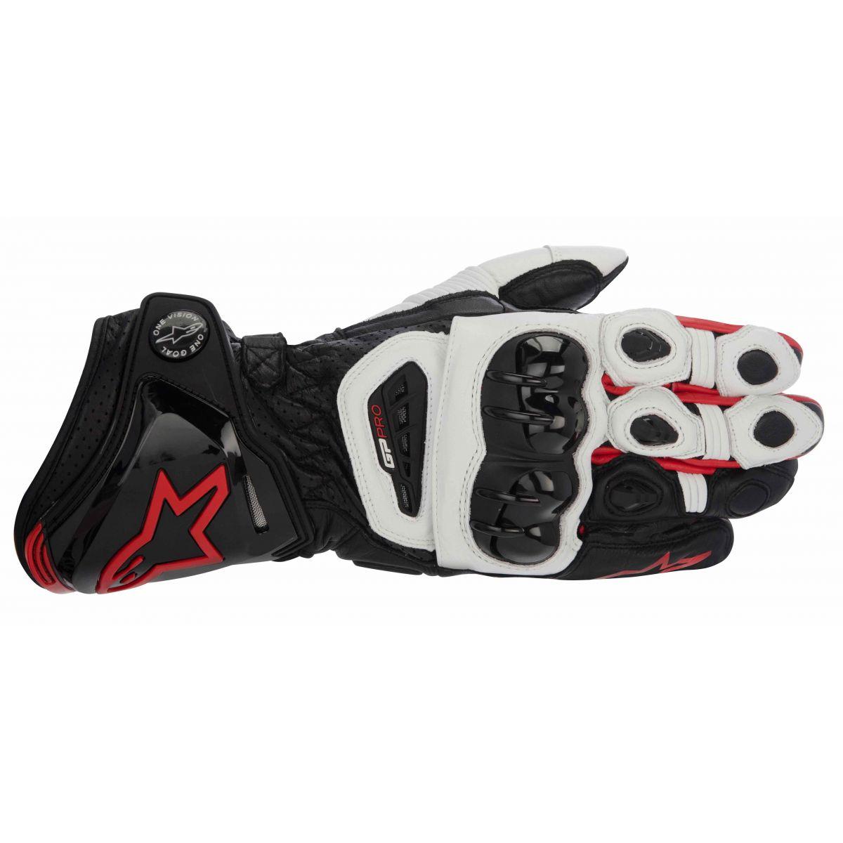 Luva Alpinestars GP Pro Couro Black White Red (Atem)  - Super Bike - Loja Oficial Alpinestars