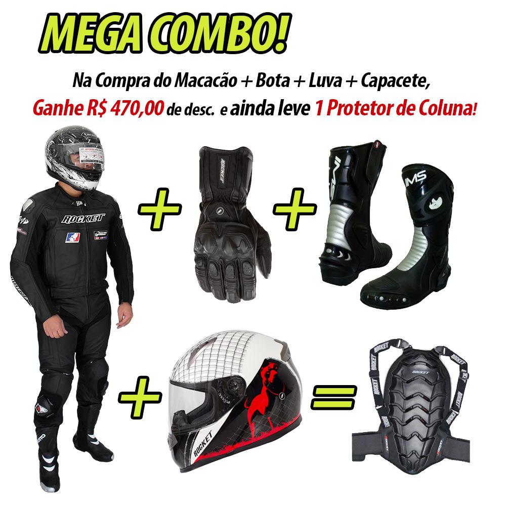 MEGA COMBO - Macacão Joe Rocket Speedmaster 2 pçs Preto  - Super Bike - Loja Oficial Alpinestars