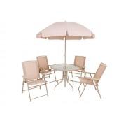Conjunto Malibu Bege ou Branco MOR (4 Cadeiras, Mesa e Guarda-sol)