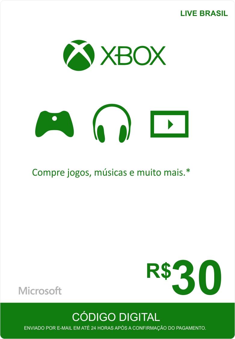 Cartão XBOX Live R$30 (Live Brasil)  - FastGames - Gamers levados a sério