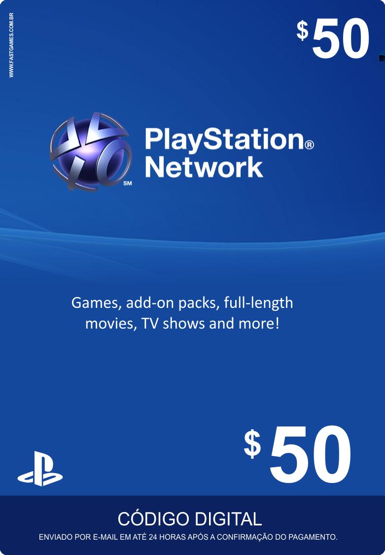 Cartão PSN $50  - FastGames - Gamers levados a sério