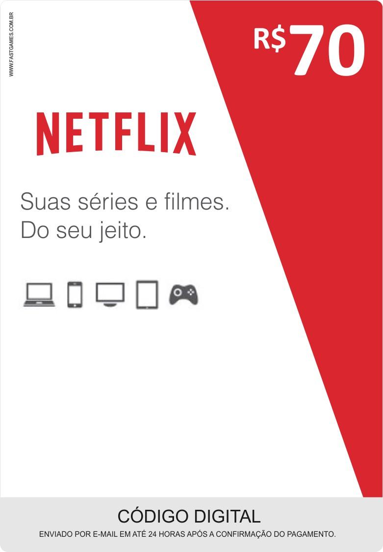 Cartão Pré-Pago Netflix R$70  - FastGames - Gamers levados a sério