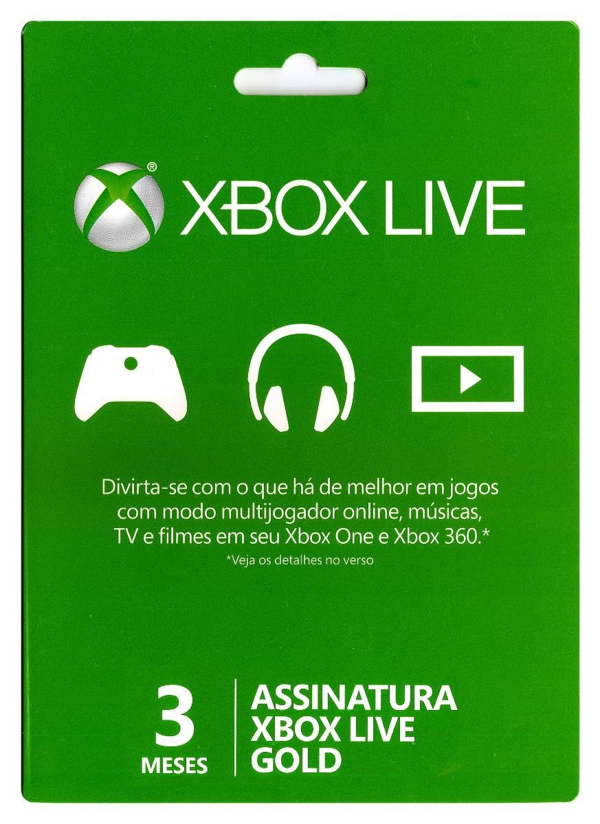Xbox Live 3 Meses Gold Card (Live Brasil)  - FastGames - Gamers levados a sério