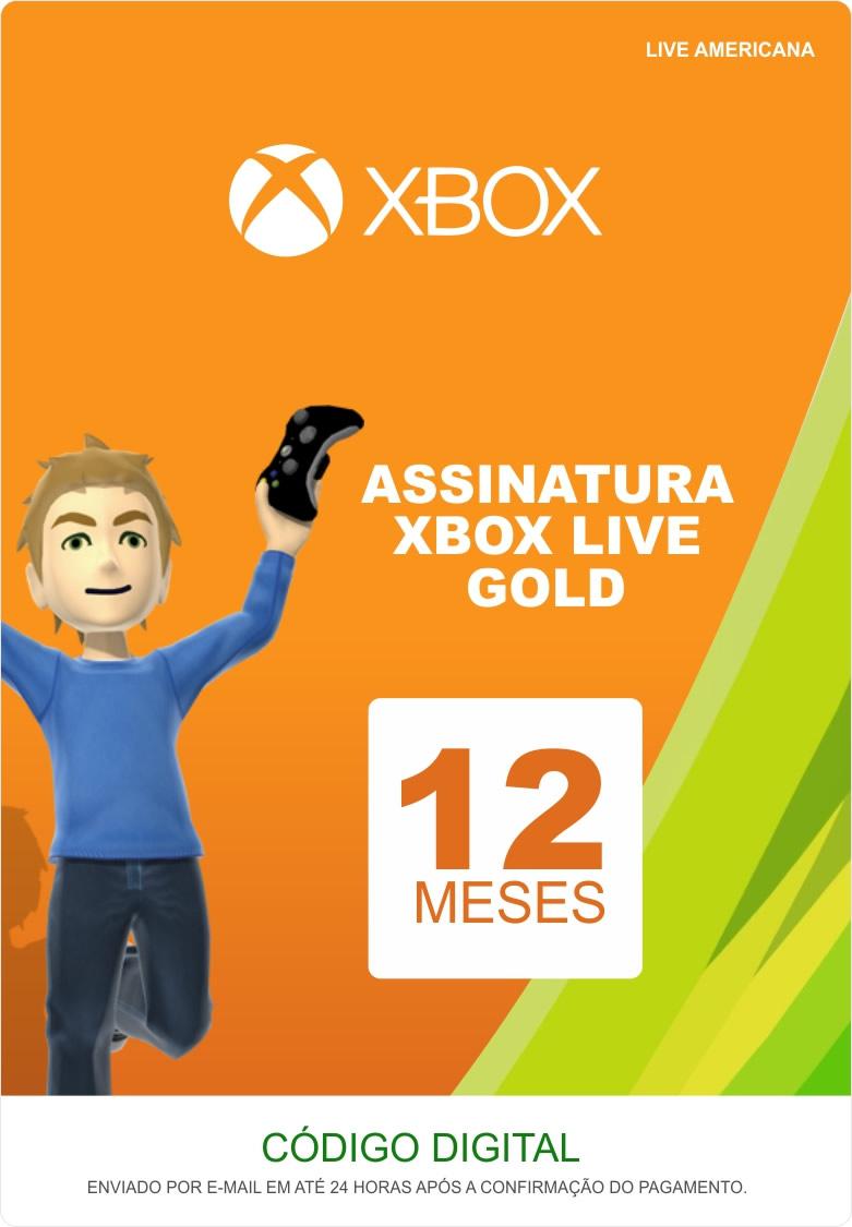Xbox Live 12 Meses Gold Card (Live Americana)  - FastGames - Gamers levados a sério