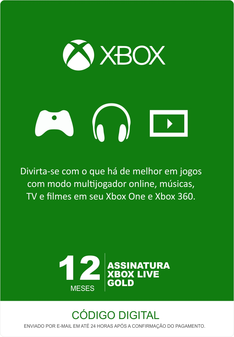 Xbox Live 12 Meses Gold Card (Live Brasil)  - FastGames - Gamers levados a sério