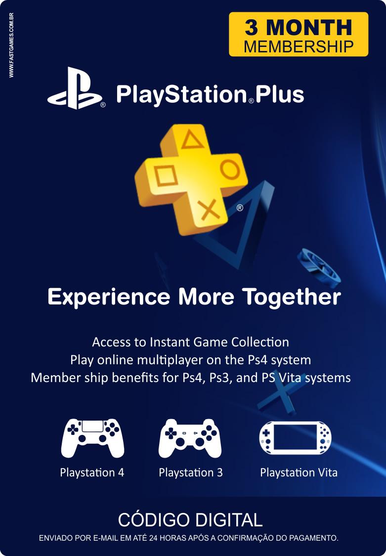 Cartão PSN Plus 3 Meses (PSN Americana)  - FastGames - Gamers levados a sério