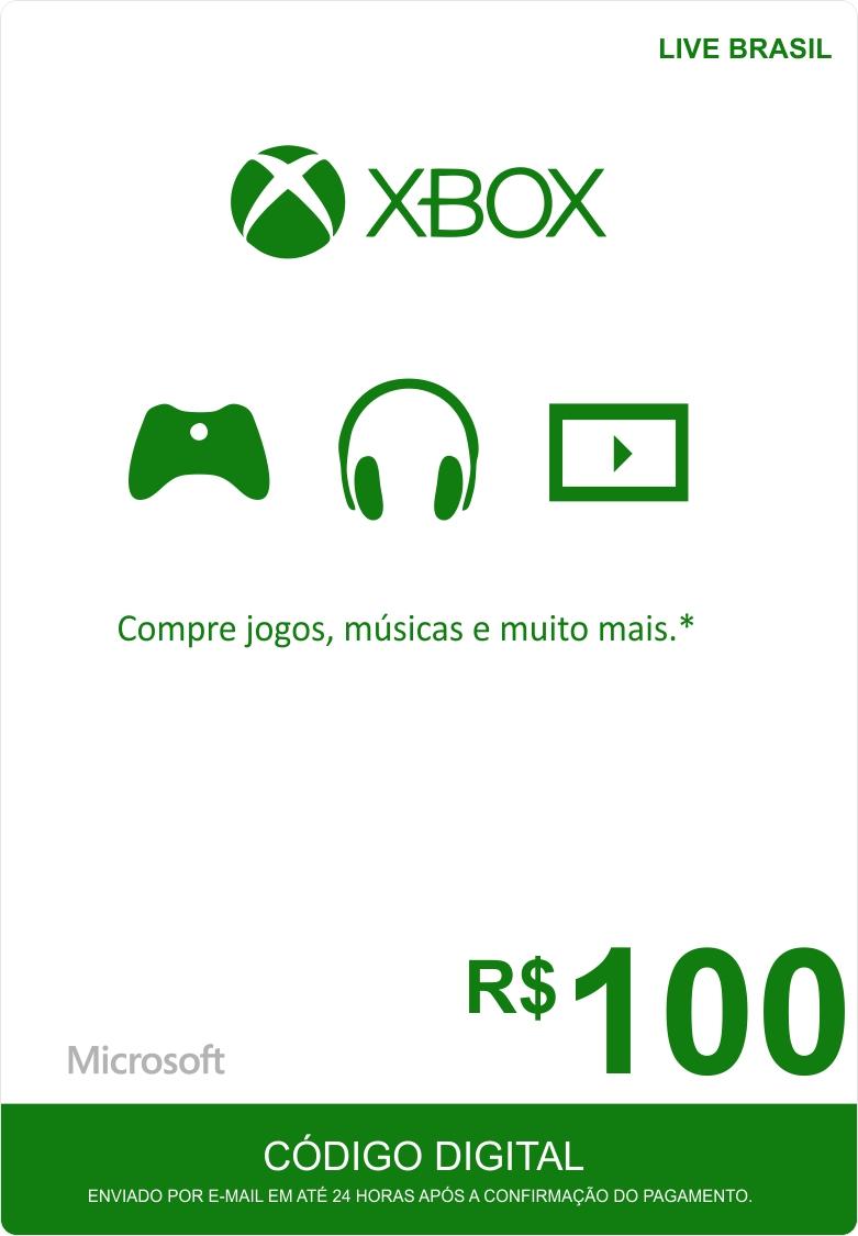 Cartão XBOX Live R$100 (Live Brasil)  - FastGames - Gamers levados a sério