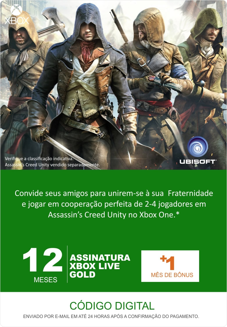 Xbox Live 13 Meses Gold Card (Live Brasil)  - FastGames - Gamers levados a sério