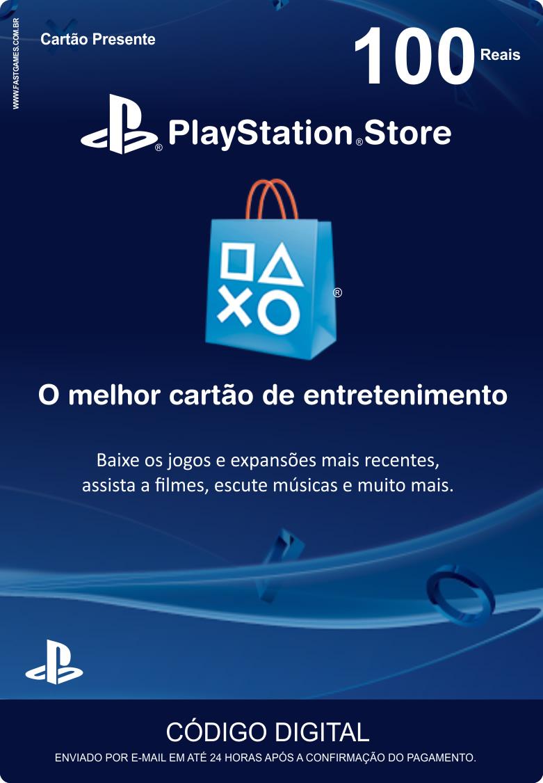 Cartão PSN Brasil R$100  - FastGames - Gamers levados a sério