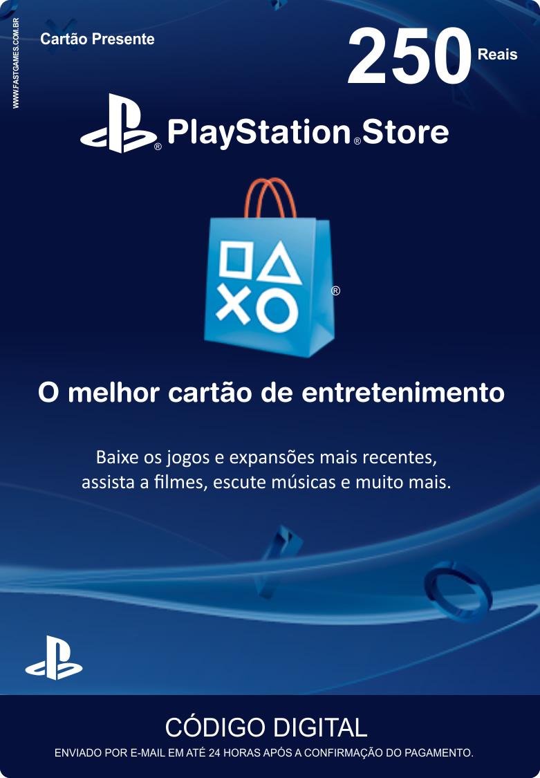 Cartão PSN Brasil R$250  - FastGames - Gamers levados a sério