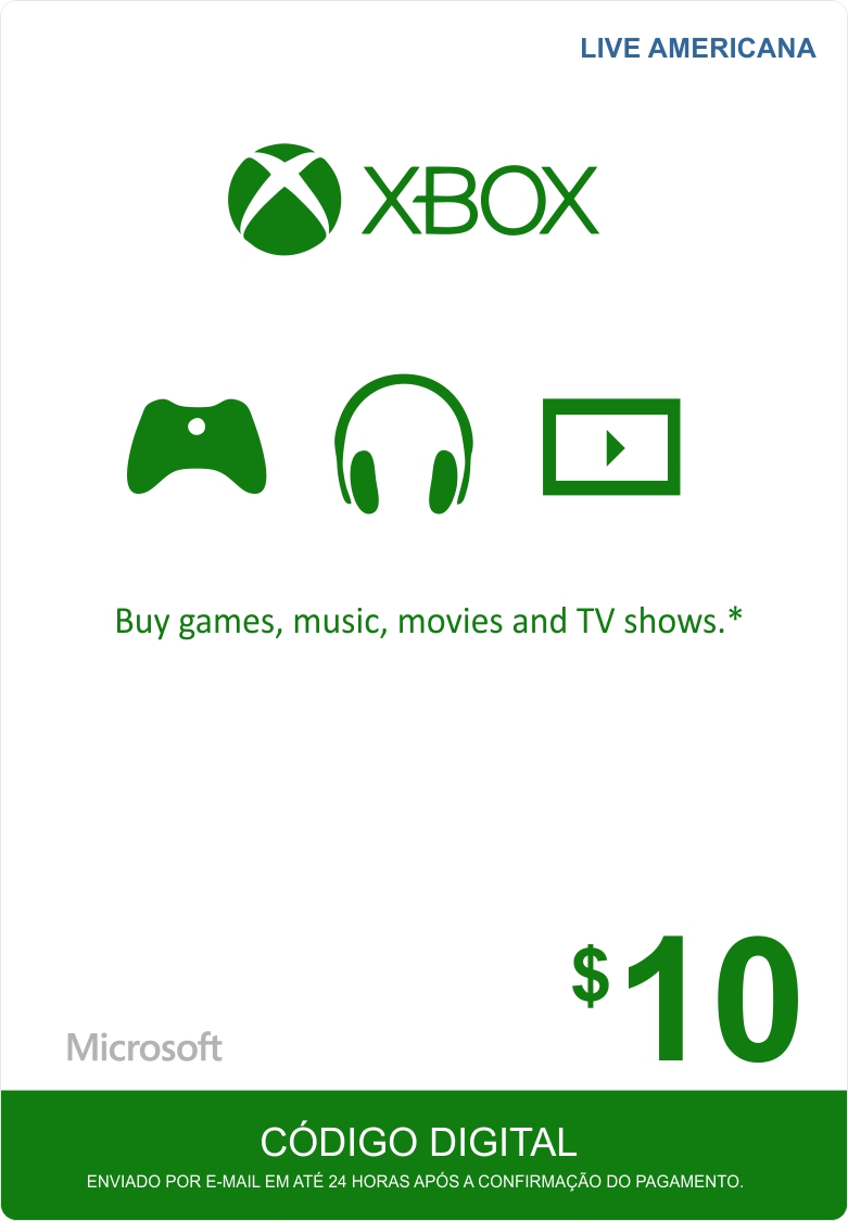 Cartão XBOX Live $10 (Live Americana)  - FastGames - Gamers levados a sério