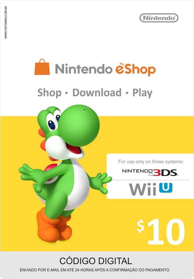 Cartão Nintendo Wii U / 3DS eShop Cash $10  - FastGames - Gamers levados a sério