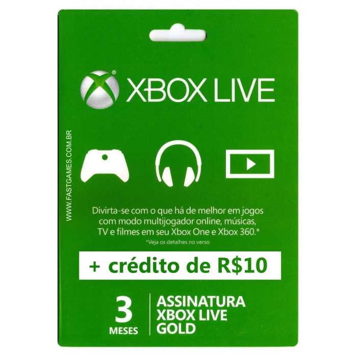 Xbox Live 3 Meses Gold Card + Crédito R$10 (Live Brasil)  - FastGames - Gamers levados a sério