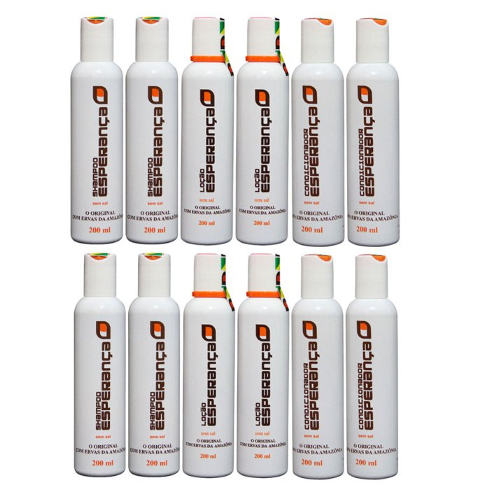 FRETE GRÁTIS CAPITAIS - 15 Frascos: 08 shampoos + 07 Loções- Queda de Cabelo e Calvície  - Shampoo Esperança