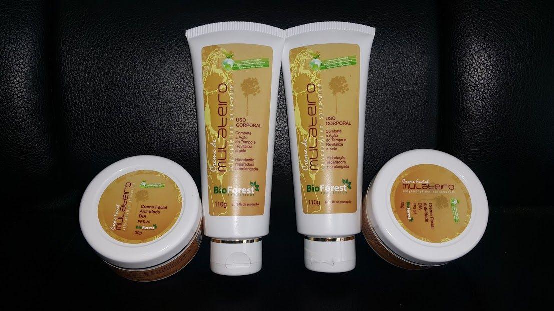 Kit Cremes de mulateiro: (1 Hidratante corporal + 1 Creme facial dia + 1 Creme facial noite).   - Shampoo Esperança