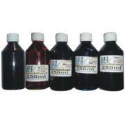 Kit de tintas 5 potes (Magenta, Amarelo, Ciano, Preto e Preto Fotográfico) 250ml/cada - Total de 1,25