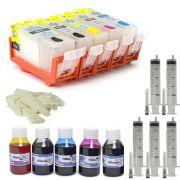 Cartuchos Recarregáveis Canon Ip4810, Ip4910, Mg5210 + 500ml de tinta