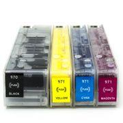 Cartuchos Recarregáveis Pro X451, X476, X576, X551dw, HP 970 e HP 971 + 500ml de Tinta