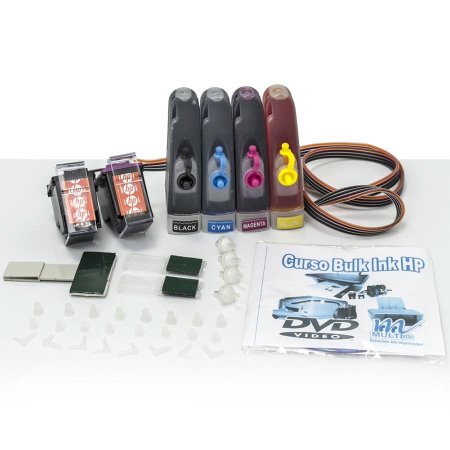 Bulk Ink para Impressora HP Completo com Cartuchos  + 240ml de Tintas