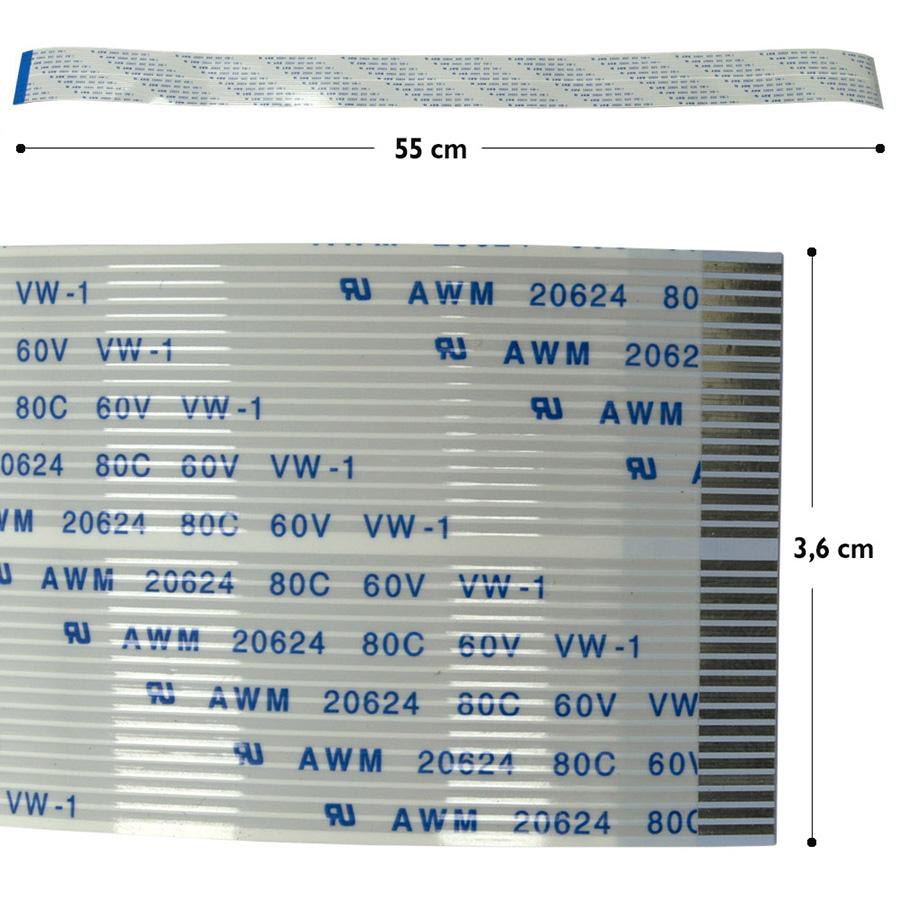 Cabo Flat de 55cm com 35 vias para Plotter de Impressão com Cabeça DX7