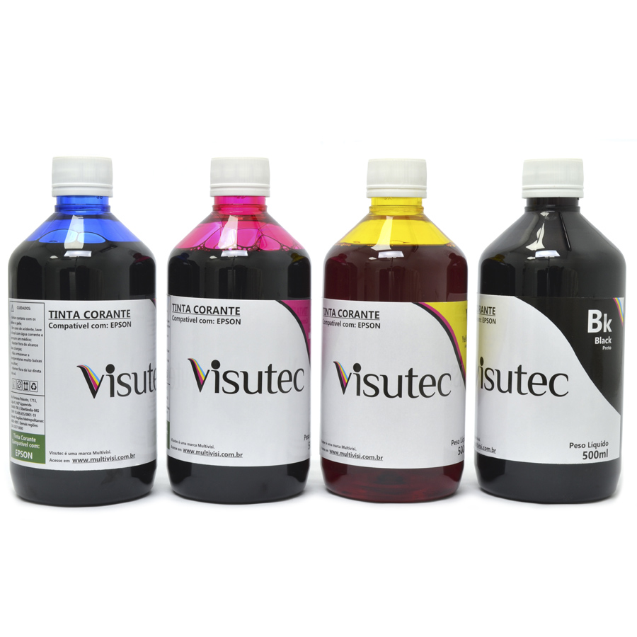 Kit 2 Litros de Tinta Corante para Epson e Brother (500ml de cada cor)